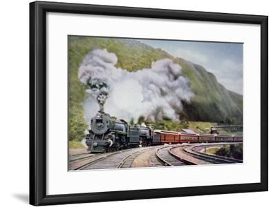 The New York to Chicago Express at the Horse-Shoe Curve, Alleghany, c.1930--Framed Giclee Print