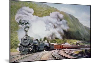 The New York to Chicago Express at the Horse-Shoe Curve, Alleghany, c.1930--Mounted Giclee Print