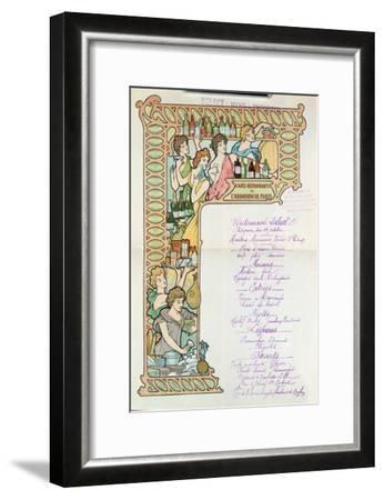Menu from the Cafe Restaurants from the Aquarium de Paris--Framed Giclee Print
