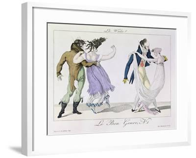 Couples Dancing the Waltz, from Le Bon Genre, c.1810--Framed Giclee Print