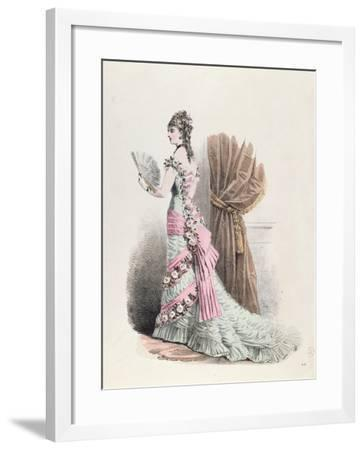 Fashion Plate of a Woman in Evening Dress and with a Fan, 1877--Framed Giclee Print