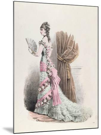 Fashion Plate of a Woman in Evening Dress and with a Fan, 1877--Mounted Giclee Print