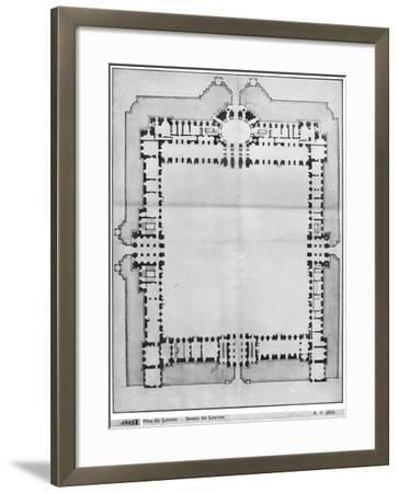 Design For the Eastern Buildings of the Louvre, from Recueil du Louvre-Louis Le Vau-Framed Giclee Print