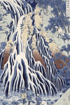Kirifuri Fall on Kurokami Mount, from the Series 'shokoku Taki Meguri-Katsushika Hokusai-Stretched Canvas Print