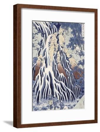 Kirifuri Fall on Kurokami Mount, from the Series 'shokoku Taki Meguri-Katsushika Hokusai-Framed Premium Giclee Print