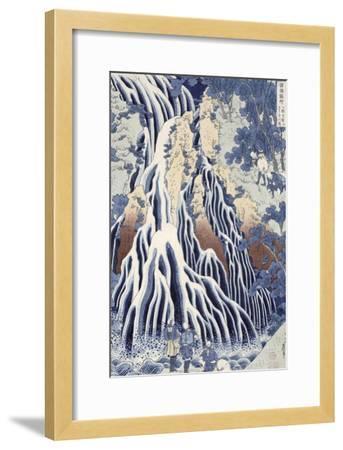 Kirifuri Fall on Kurokami Mount, from the Series 'shokoku Taki Meguri-Katsushika Hokusai-Framed Giclee Print