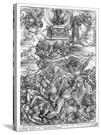 Scene from the Apocalypse, the Four Vengeful Angels, Latin Edition, 1511-Albrecht D?rer-Stretched Canvas Print