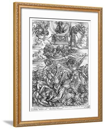Scene from the Apocalypse, the Four Vengeful Angels, Latin Edition, 1511-Albrecht D?rer-Framed Giclee Print