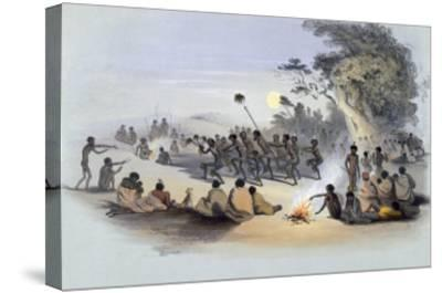 The Aboriginal Inhabitants: The Kuri Dance, from South Australia Illustrated, Published in 1847-George French Angas-Stretched Canvas Print