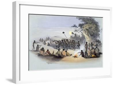 The Aboriginal Inhabitants: The Kuri Dance, from South Australia Illustrated, Published in 1847-George French Angas-Framed Giclee Print