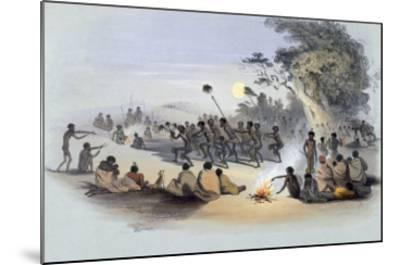 The Aboriginal Inhabitants: The Kuri Dance, from South Australia Illustrated, Published in 1847-George French Angas-Mounted Giclee Print