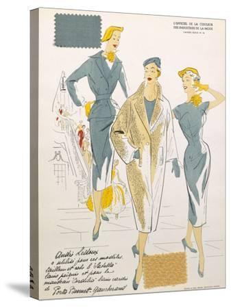 Sketches and Fabric Swatches, from L'Oficiel de La Couleur Des Industries de La Mode--Stretched Canvas Print