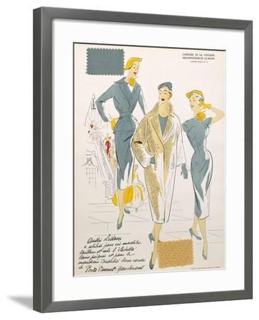 Sketches and Fabric Swatches, from L'Oficiel de La Couleur Des Industries de La Mode--Framed Giclee Print