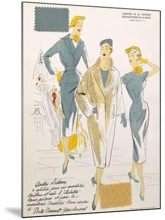 Sketches and Fabric Swatches, from L'Oficiel de La Couleur Des Industries de La Mode--Mounted Giclee Print