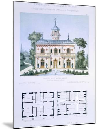 Small Country House Near Paris, Engraved by Walter, Plate 5, Architecture Pittoresque et Moderne-Andre Marty-Mounted Giclee Print