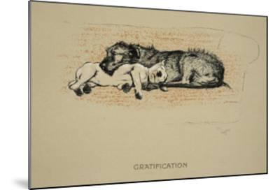 Gratification, 1930, 1st Edition of Sleeping Partners-Cecil Aldin-Mounted Giclee Print