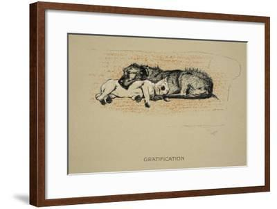 Gratification, 1930, 1st Edition of Sleeping Partners-Cecil Aldin-Framed Giclee Print