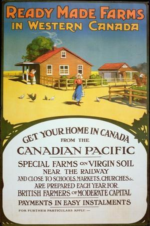 Poster Advertising Ready Made Farms in Western Canada, c.1900--Stretched Canvas Print