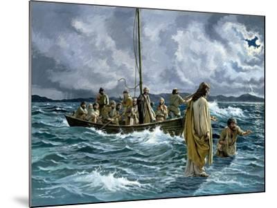 Christ Walking on the Sea of Galilee--Mounted Giclee Print
