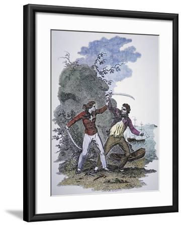 Mary Read Fights Another Pirate to Save Her Male Lover's Life--Framed Giclee Print