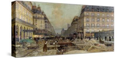 The Construction of the Metro, 1900-Luigi Loir-Stretched Canvas Print