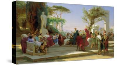 Horatius Reading His Satires to Maecenas, 1863-Fedor Andreevich Bronnikov-Stretched Canvas Print