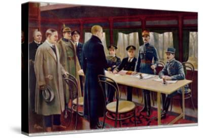 The Signing of the Armistice on 11th November 1918 at 5 A.M., 1918--Stretched Canvas Print