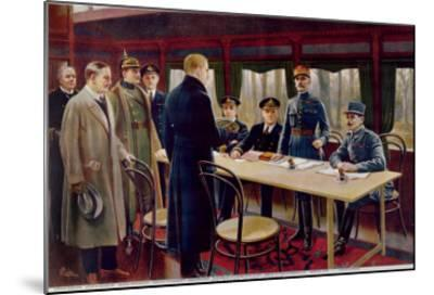 The Signing of the Armistice on 11th November 1918 at 5 A.M., 1918--Mounted Giclee Print