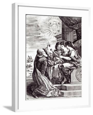 Frontispiece of Opere Di Galileo Galilei, Published in Bologna in 1656--Framed Giclee Print