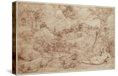 Landscape with a Dragon and a Nude Woman Sleeping-Titian (Tiziano Vecelli)-Stretched Canvas Print
