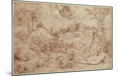 Landscape with a Dragon and a Nude Woman Sleeping-Titian (Tiziano Vecelli)-Mounted Giclee Print