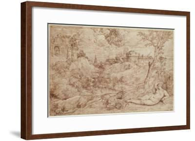 Landscape with a Dragon and a Nude Woman Sleeping-Titian (Tiziano Vecelli)-Framed Giclee Print