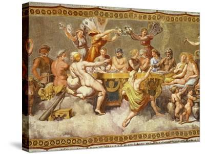 The Banquet of the Gods, Ceiling Painting of the Courtship and Marriage of Cupid and Psyche-Raphael-Stretched Canvas Print