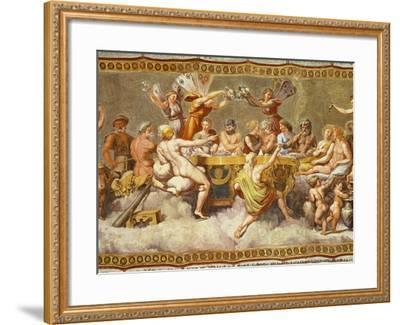 The Banquet of the Gods, Ceiling Painting of the Courtship and Marriage of Cupid and Psyche-Raphael-Framed Giclee Print