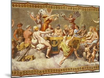 The Banquet of the Gods, Ceiling Painting of the Courtship and Marriage of Cupid and Psyche-Raphael-Mounted Giclee Print
