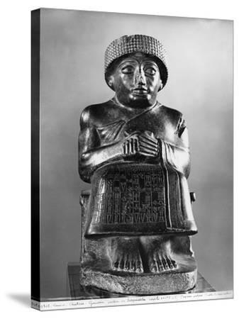 Gudea, Prince of Lagash, Dedicated to Ningizzada, Neo-Sumerian, Telloh, Ancient Girsu, c.2130 BC- Mesopotamian-Stretched Canvas Print