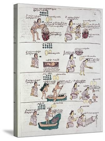 Page from the Codex Mendoza, Showing Discipline and Chores Assigned to Children, Mexico, c.1541-42--Stretched Canvas Print