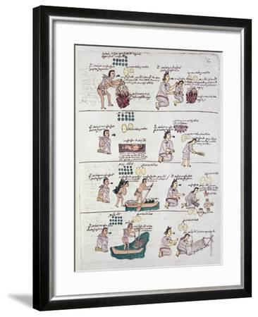 Page from the Codex Mendoza, Showing Discipline and Chores Assigned to Children, Mexico, c.1541-42--Framed Giclee Print