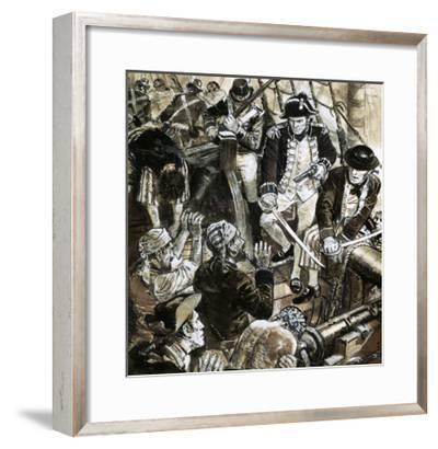 Unidentified Sea Battle on Sailing Ship with Cannons-Ken Petts-Framed Giclee Print