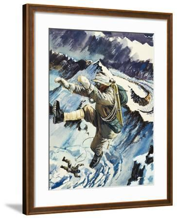 Mountaineers Falling to Their Death--Framed Giclee Print