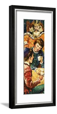 King Edward I Watches over His Son, Edward, and His Companion Piers Gaveston--Framed Giclee Print