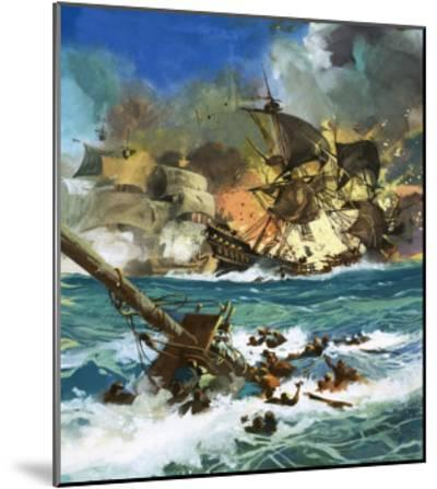 Unidentified Sailing Ship Exploding--Mounted Giclee Print