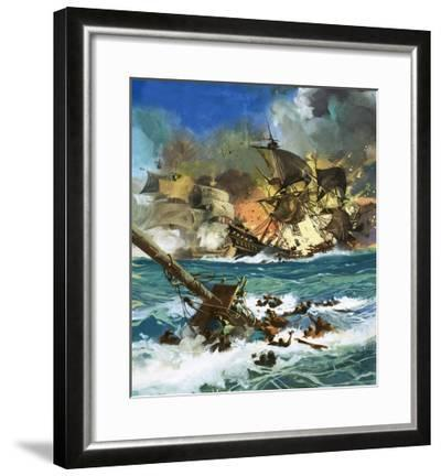 Unidentified Sailing Ship Exploding--Framed Giclee Print