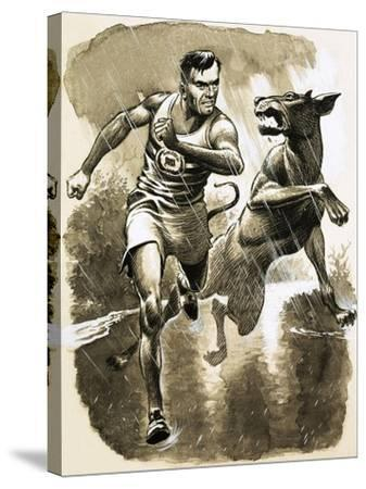 Jack Holden Won a Marathon Despite Being Bitten by a Dog During the Race--Stretched Canvas Print