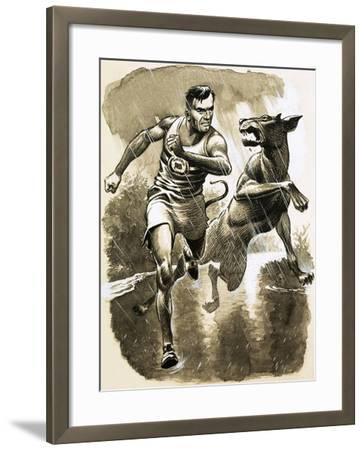 Jack Holden Won a Marathon Despite Being Bitten by a Dog During the Race--Framed Giclee Print