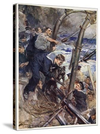 How Norah the Bulldog Was Saved from the Sinking Battleship-Cyrus Cuneo-Stretched Canvas Print