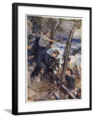 How Norah the Bulldog Was Saved from the Sinking Battleship-Cyrus Cuneo-Framed Giclee Print