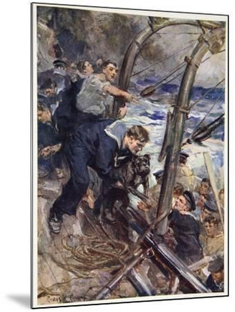 How Norah the Bulldog Was Saved from the Sinking Battleship-Cyrus Cuneo-Mounted Giclee Print