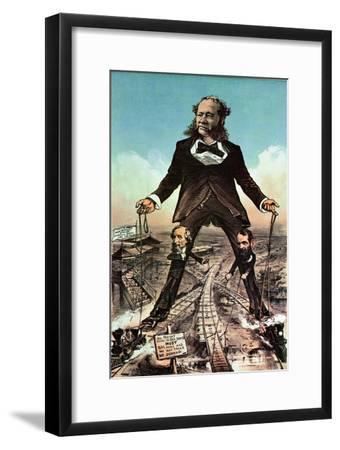 W.H. Vanderbilt as a Colossus of Roads--Framed Giclee Print