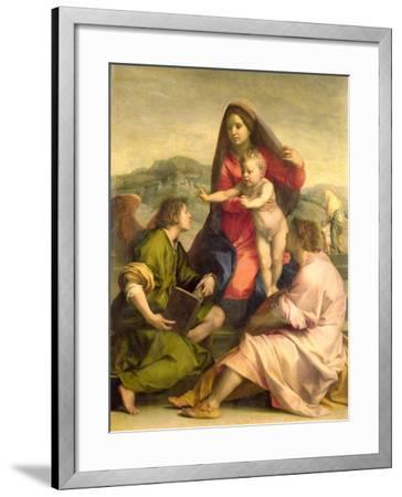 The Virgin and Child with a Saint and an Angel, c.1522-23-Andrea del Sarto-Framed Giclee Print